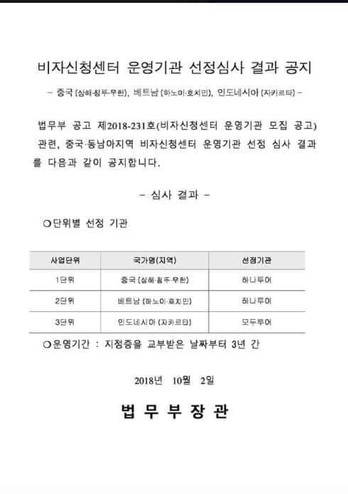 Thông báo mới của Bộ Tư pháp Hàn Quốc về vấn đề cấp visa Hàn Quốc 2019